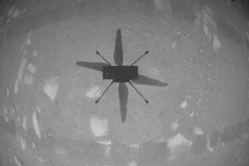 2021年4月20日,NASA火星直升機「獨創號」(Ingenuity)完成首度飛行任務(NASA)