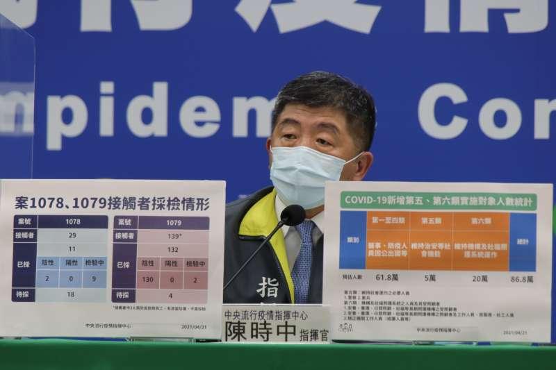 指揮官陳時中21日下午出席疫情記者會時說明接觸者初步採檢結果,目前尚未出現其他確診個案。(指揮中心提供)