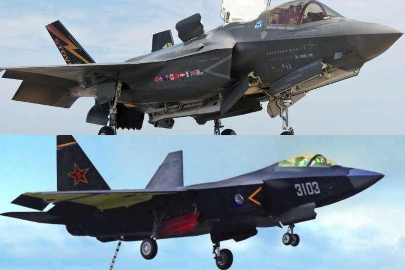 美國海軍研究所20日發文狠酸,中國瀋陽飛行集團研發中的殲-31(J-31)戰機,外型抄襲洛克希德・馬丁公司製造的F-35戰機。(取自U.S. Naval Institute臉書)