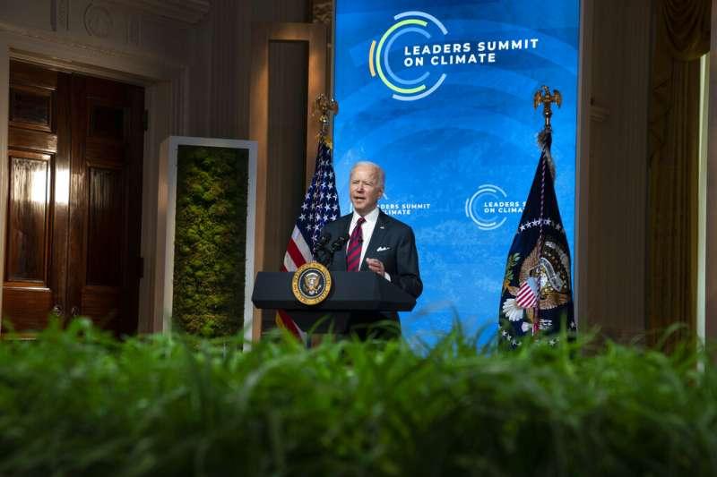 拜登在氣候峰會發言。(美聯社)