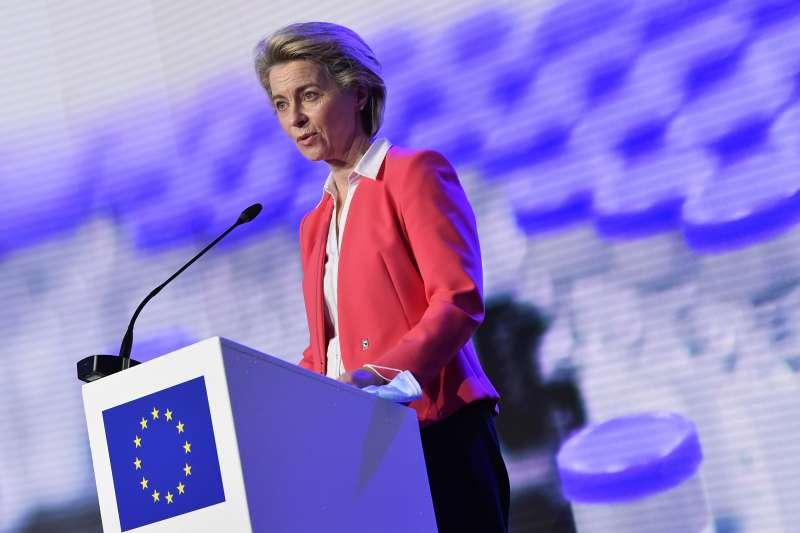 2021年4月24日,歐盟執委會主席馮德萊恩。(AP)