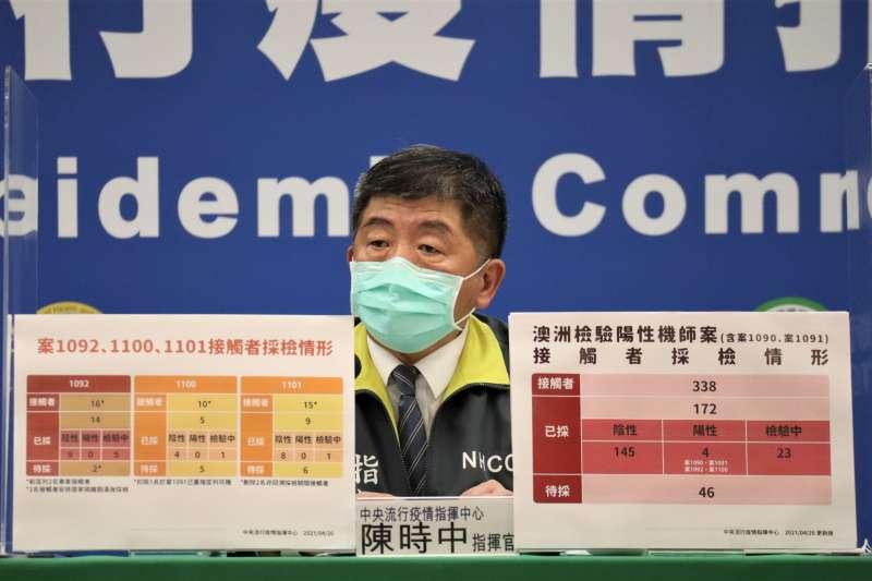 中央流行疫情指揮中心指揮官陳時中(見圖)宣布2日國內新增4例本土確診個案。(資料照,中央流行疫情指揮中心提供)
