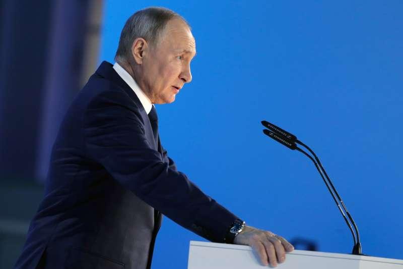 2021年4月,俄羅斯總統普京(Vladimir Putin)發表國情咨文演說(AP)