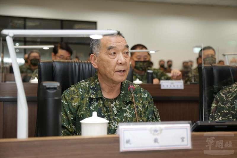 國防部長邱國正(見圖)在兵推首日精神講話。(取自軍聞社)