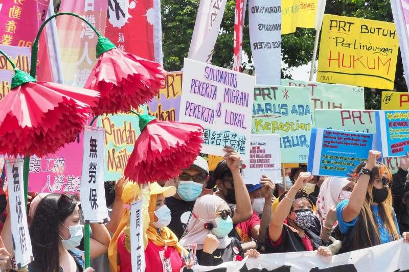 20210502-台灣移工聯盟2日舉行「我要家服法!記者會。(柯承惠攝)