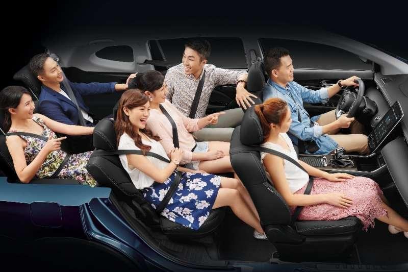 超大座位空間,讓你隨時從5人座變7人座,空間不變出遊更方便。(圖/納智捷汽車提供)