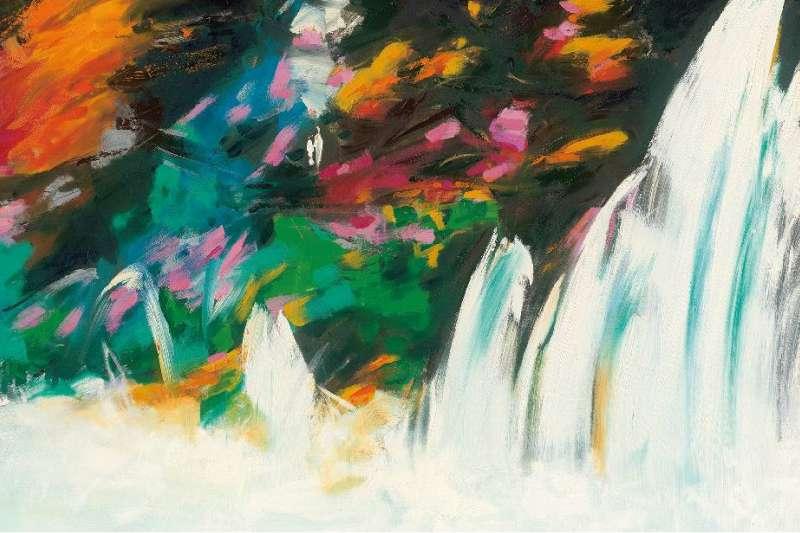 謝義錩此次畫作個展引用華嚴經,強調水是天下最柔軟之物,但却無堅不摧,弱勝強柔勝剛的特性。(圖/謝義錩提供)