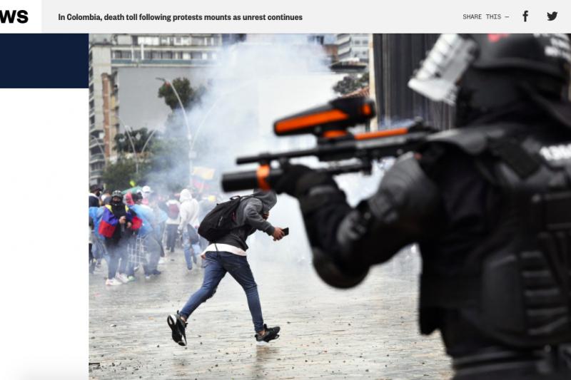 2021年4月底,哥倫比亞爆發示威潮,警察予以暴力鎮壓,至少37人死亡。(截自網路)