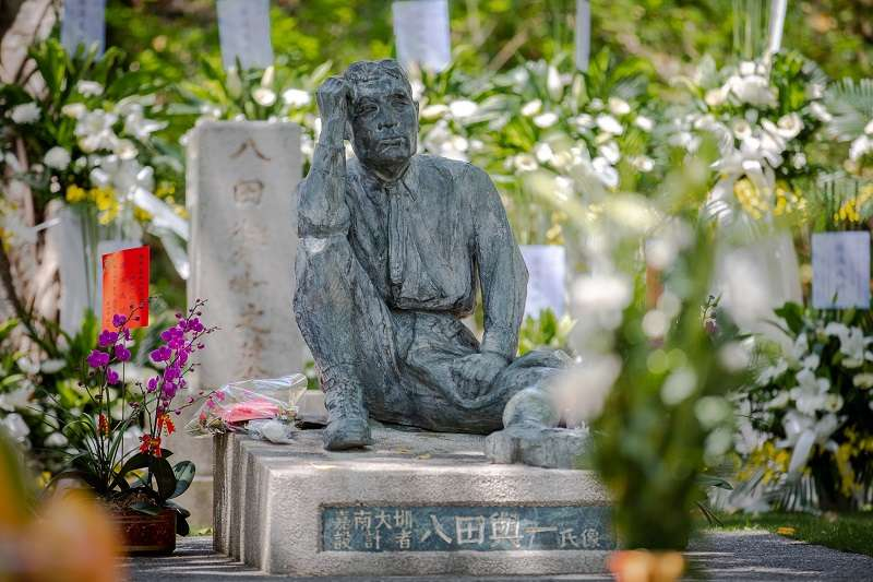 蔡英文紀念八田與一,滿口誇讚自己,卻完全不提「八田與一紀念園區」是在馬英九總統任內重修、成立的。(蔡英文臉書)