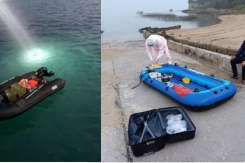 兩名男子分別駕駛橡皮艇於台中、金門成功登岸,艇未充氣前可放在收納袋內,方便攜帶。(圖/取自媒體畫面)