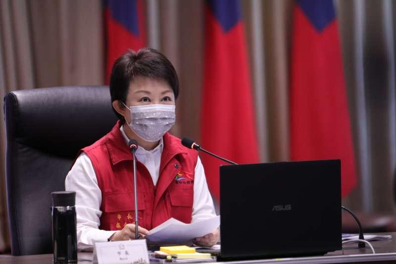 台中市長盧秀燕15日主持台中市第三級警戒預作兵棋推演。(台中市政府提供)