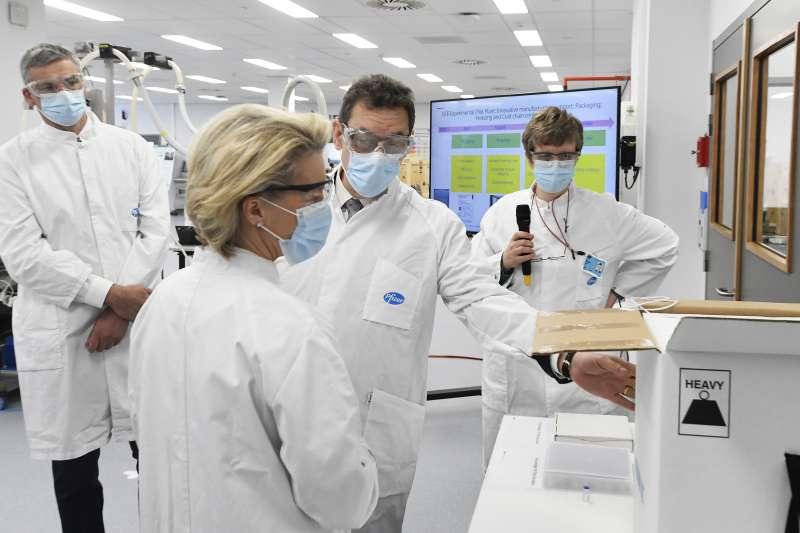 歐盟執委會主席馮德萊恩參訪輝瑞藥廠(資料照,AP)