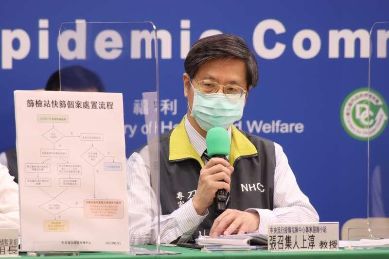 中央流行疫情指揮中心專家諮詢小組召集人張上淳指出,即使輕症確診個案17天後沒有再度採檢,根據過去經驗也認為沒有傳染力。(資料照,中央流行疫情指揮中心提供)