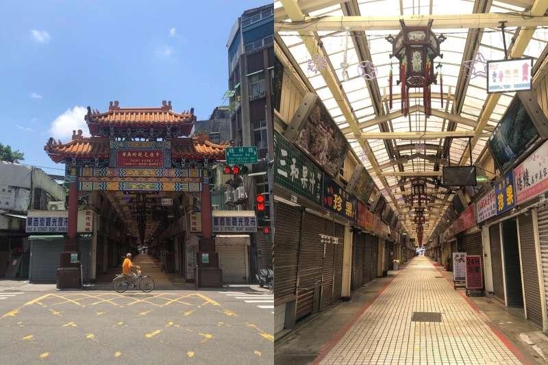 在爆發茶藝館群聚感染後,萬華街頭如今空蕩蕩。(圖/取自張哲生臉書)