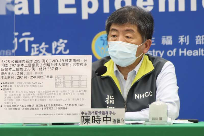 5月28日陳時中主持中央疫情指揮中心防疫記者會,指揮中心表示該名36歲確診男子恐是目前最年輕死亡個案。(示意圖/中央疫情指揮中心提供)