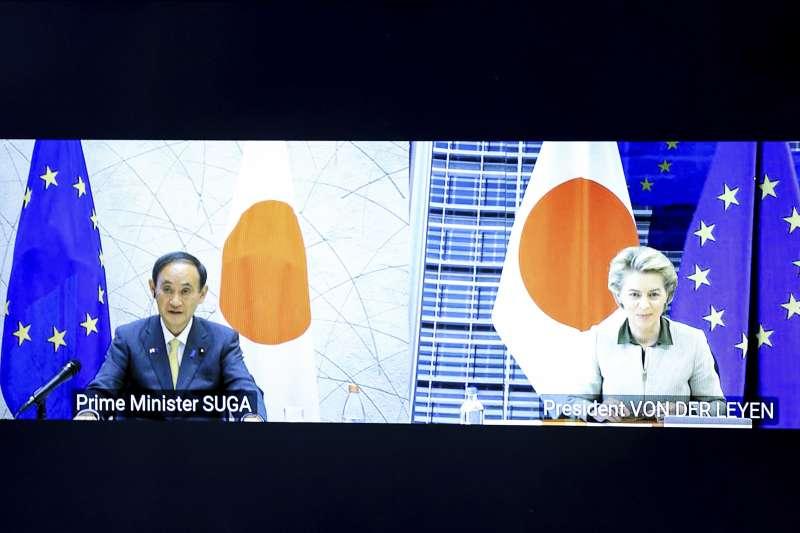 2021年5月27日,日本首相菅義偉和歐盟執委會主席馮德萊恩視訊會談,會後聲明首次表達台海和平穩定重要性(AP)