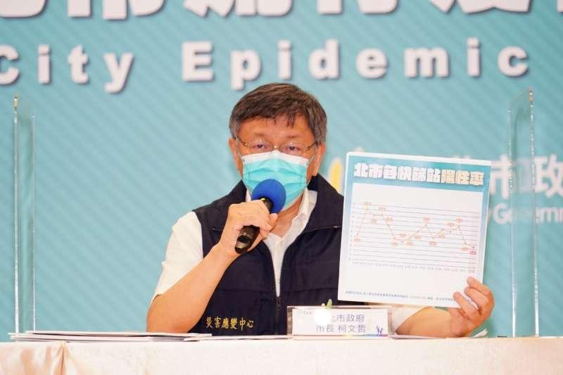 台北市政府29日召開防疫記者會,台北市長柯文哲透露,轄內專責病床一度僅剩16床。(台北市政府提供)