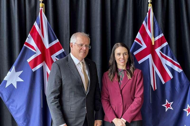 2021年5月31日,紐西蘭總理雅頓和澳洲總理莫里森會談(AP)
