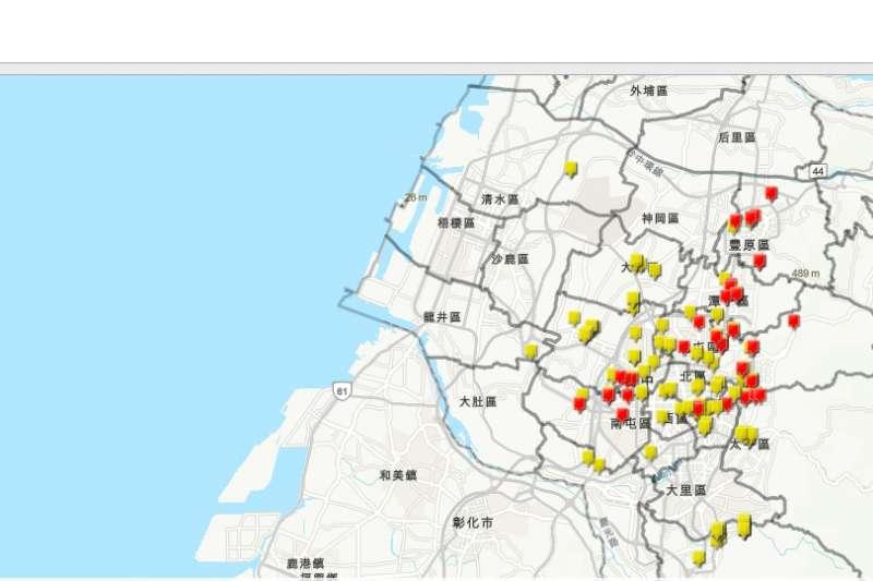 台中市確診者足跡地圖網站已上線!(圖/取自台中市疫情地圖)