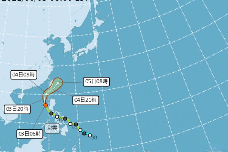 中央氣象局表示,颱風彩雲逐漸往台灣接近,不排除最快今天就會發出海上颱風警報。(圖/取自氣象局)