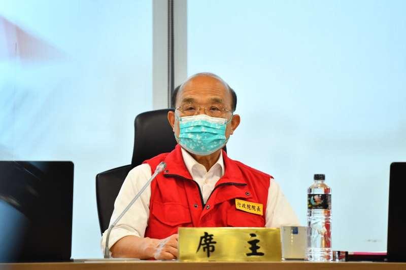 行政院長蘇貞昌今天表示,雖然本土疫情已有趨緩,但還不能鬆懈,也不鼓勵民眾恢復跨區活動。(行政院提供)