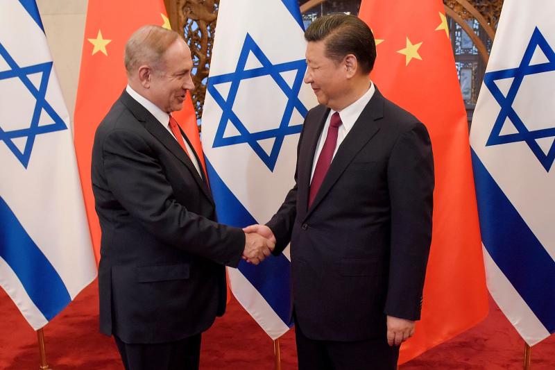 以色列總理納坦雅胡與中國國家主席習近平(資料照,AP)