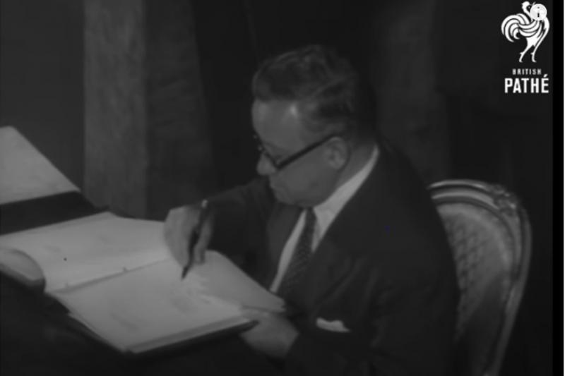 1951年9月8日,在《舊金山和約》上代表英國簽字的英國外相莫里森,是導致中華民國無法出席舊金山和會的阻礙。(許劍虹提供)