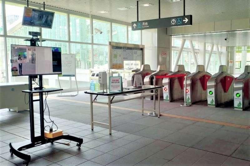 台中市所有捷運站設置熱顯像儀同步啟用,全線18個車站加強防護,讓需要外出的旅客更安心搭乘。(圖/台中市政府)
