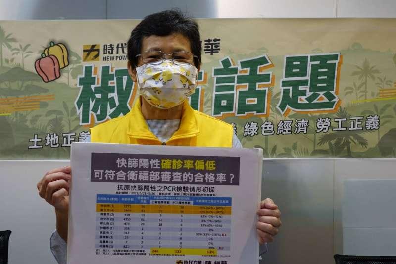 時代力量立委陳椒華11日對現行篩檢試劑提出質疑。(陳淑華辦公室提供)