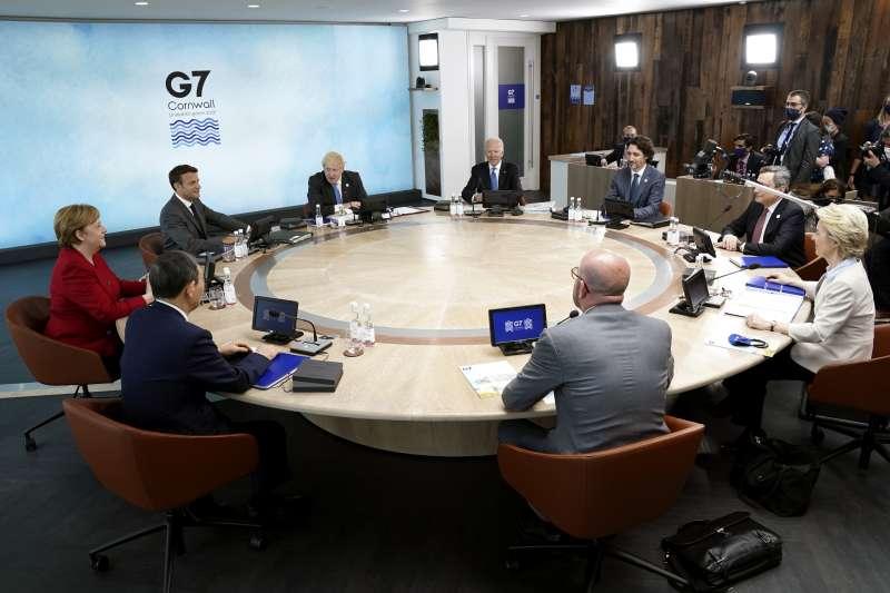 2021年6月13日,七大工業國(G7)領袖峰會聯合公報首度提及台海局勢(AP)