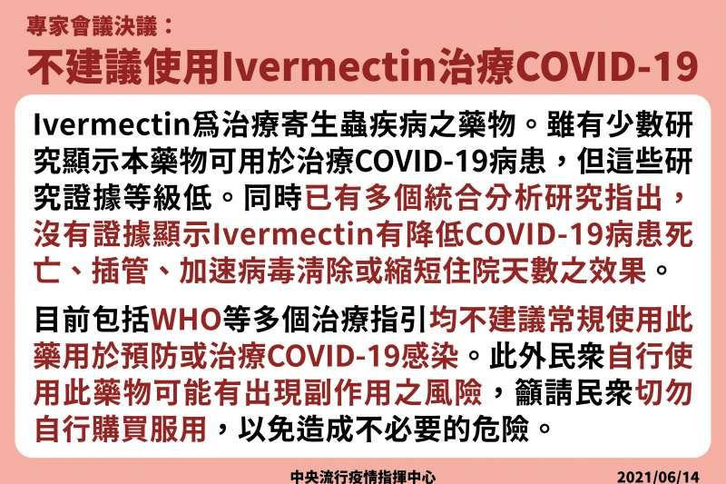 20210614-指揮中心專家會議決議,不建議使用Ivermectin治療新冠肺炎患者。(中央流行疫情指揮中心提供)