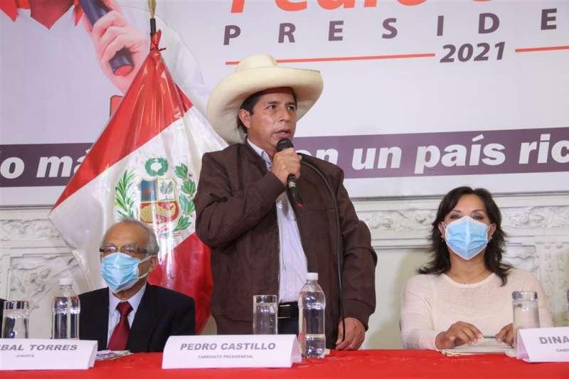 卡斯提略(Pedro Castillo,圖)以4萬4058票的差距在秘魯總統大選中擊敗藤森惠子(Keiko Fujimori)。(翻攝臉書)