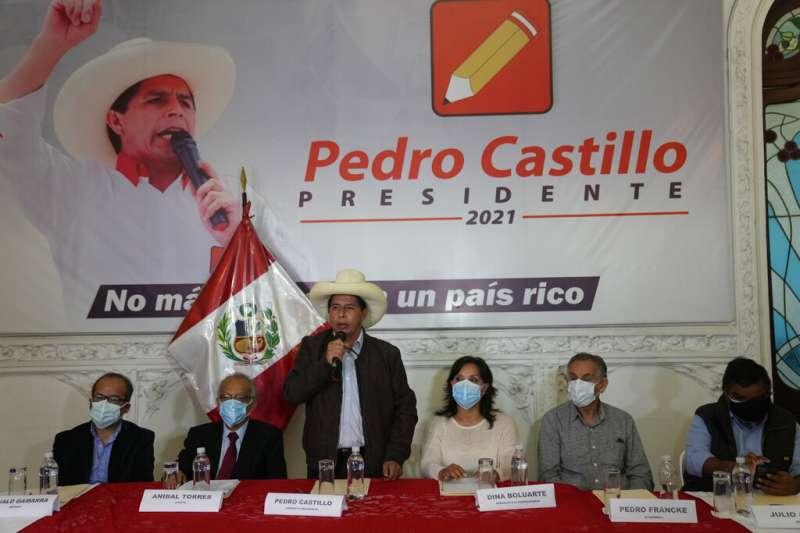 卡斯提略(Pedro Castillo,圖)以4萬4058票的差距在秘魯總統大選中擊敗藤森惠子(Keiko Fujimori)。(美聯社)