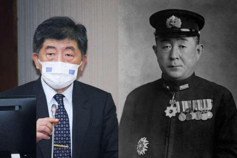 衛福部長陳時中(左)撞臉日本舊海軍將領山口多聞(右),引起熱議。(資料照,蔡親傑攝、取自維基百科/影像合成:風傳媒)