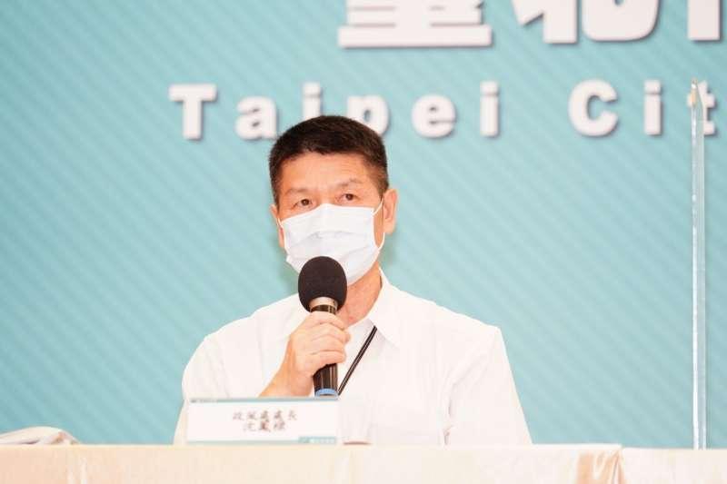 台北市19日舉行防疫記者會,台北市政風處處長沈鳳樑出席,並說明診所私打疫苗風波調查結果。(台北市政府提供)