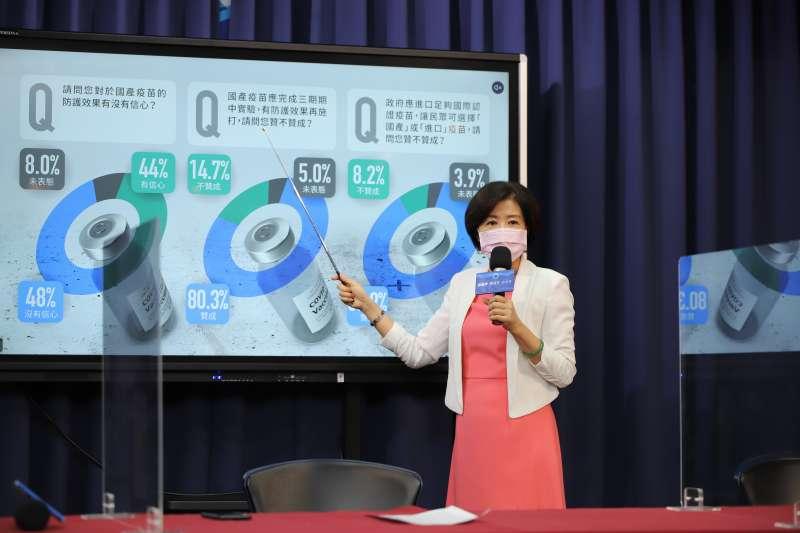 國民黨23日公布民眾對國產疫苗看法的最新民調。(國民黨提供)