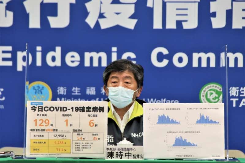 陳時中25日宣布國內新冠肺炎新增76例確診,均為本土個案。(中央流行疫情指揮中心提供)