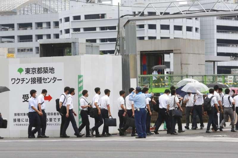 東京築地的新冠疫苗接種中心。(美聯社)