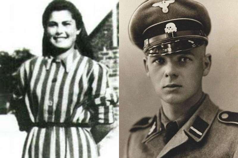 在集中營中,納粹軍官溫施Franz Wunsch(左)愛上這位猶太少女史東諾娃Helena Citronova(右)。(合成圖/擷取自網路)
