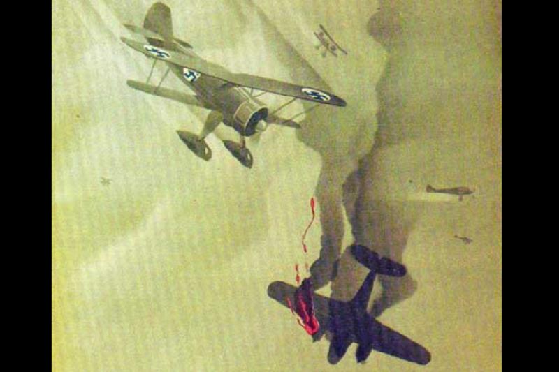 一幅描繪冬季戰爭空戰中,芬軍戰鬥機擊落蘇聯飛機的宣傳畫。(維基百科)