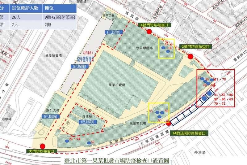 台北市第一果菜市場確診者足跡分布圖。(農委會提供)