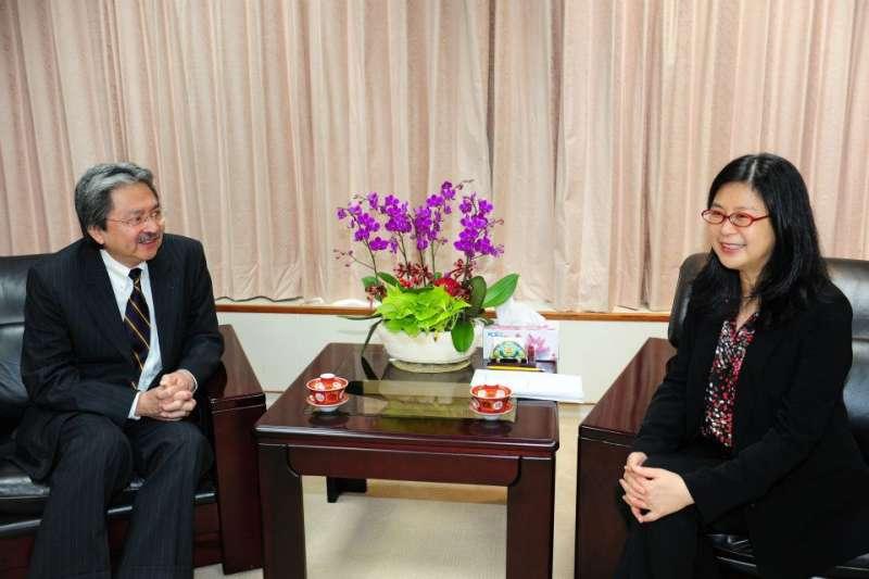 20210630-香港財政司司長、港台經濟文化合作協進會(協進會)榮譽主席曾俊華(左)拜會陸委會主委賴幸媛(右)。(取自賴幸媛主委臉書)