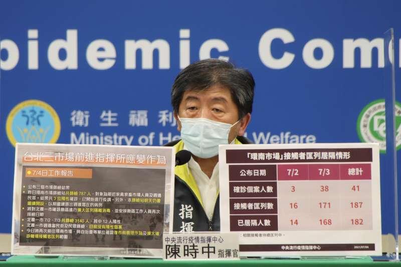 指揮中心4日公布,台北第1市場、第2市場、環南市場自6月30日以前至7月3日,已累計229位確診。圖為指揮官陳時中。(中央流行疫情指揮中心提供)