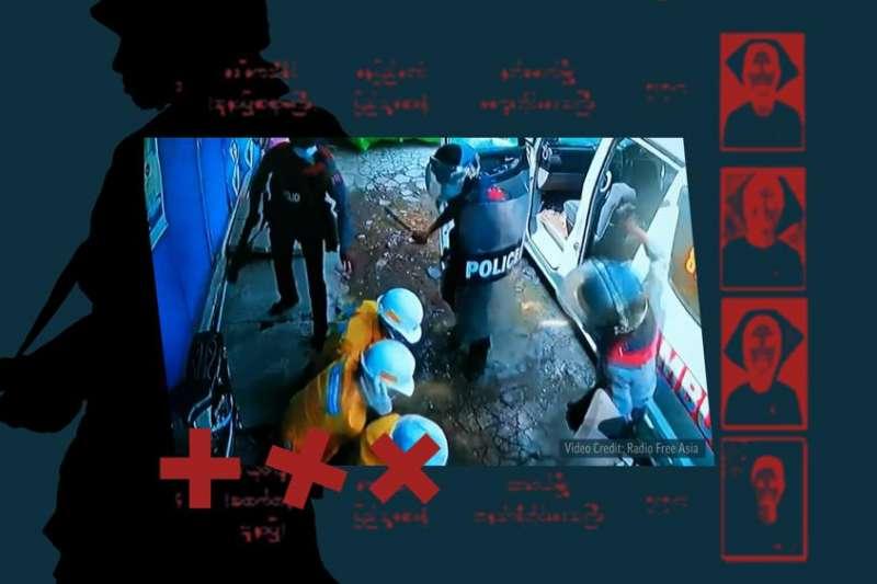 緬甸醫護人員因為救助抗議傷患,遭到軍方攔截救護車,拖下車毆打。(AP)