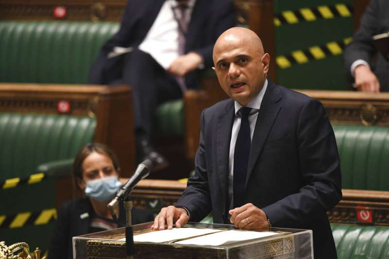 英國衛生大臣賈維德(Sajid Javid)說明英國解封計畫。(AP)