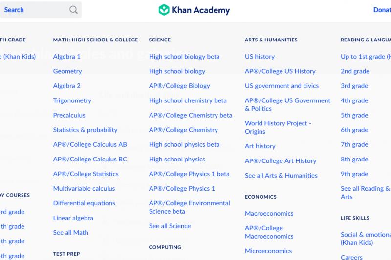 20210711-可汗學院(Khan Academy)是全世界最大的線上教育停台。雲端教改進行式配圖。(取自可汗學院)
