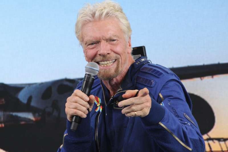 2021年7月11日,英國億萬富豪布蘭森(Richard Branson)搭乘維珍銀河公司(Virgin Galactic)「團結號」(VSS Unity)太空船升空(AP)