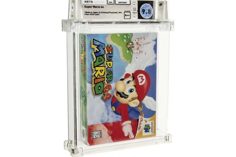 任天堂經典電玩《超級瑪利歐64》未拆封的遊戲卡匣11日拍賣,最後以156萬美元(約新台幣4409萬元)的價格售出(美聯社)