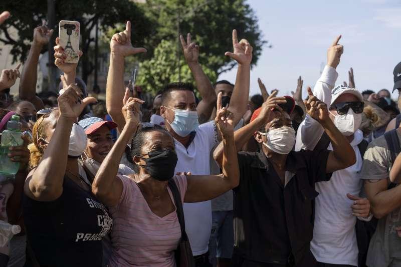 2021年7月,古巴爆發罕見的反政府示威(AP)