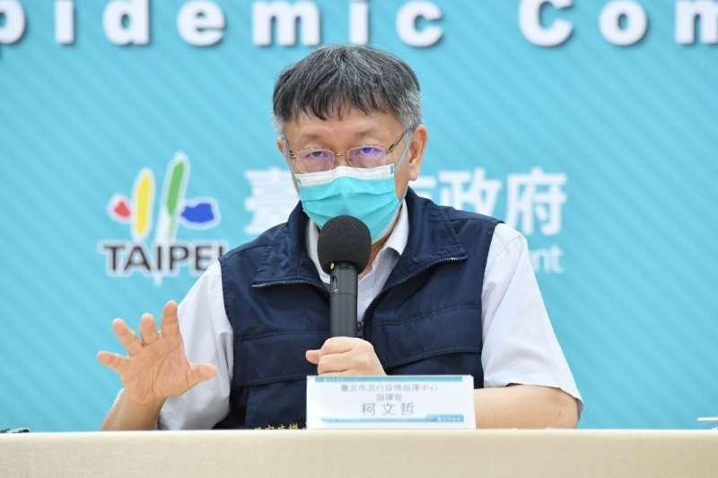 台北市長柯文哲表示,按目前的規劃,到了22日,台北市的疫苗覆蓋率就可以達到34%。(北市府提供)